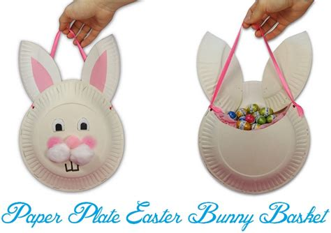 Paper Plate Easter Basket Craft - diy paper plate easter bunny basket