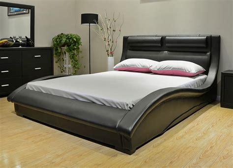 Leather Platform Bed Dinna Black Leather Modern Platform Bed