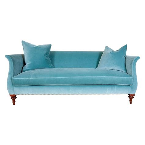 hickory chair blue velvet sofa with nailhead trim at 1stdibs