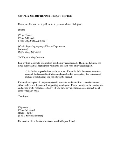 Effective Credit Dispute Letter Free Sle Of Credit Dispute Letters Credit And Debt Dispute Lettersresources The Cleanup