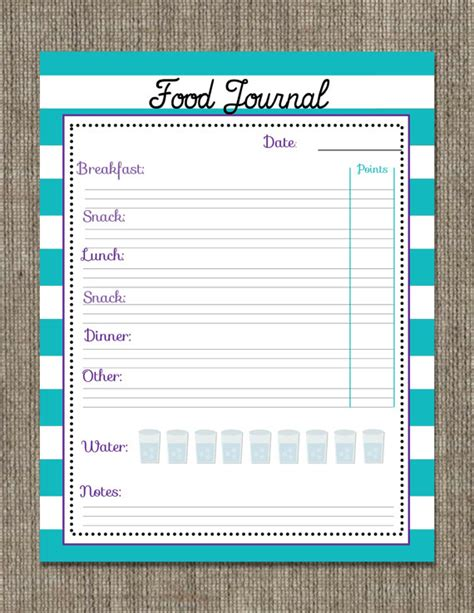 printable weight watchers journal pages printable food journal instant download weight watchers