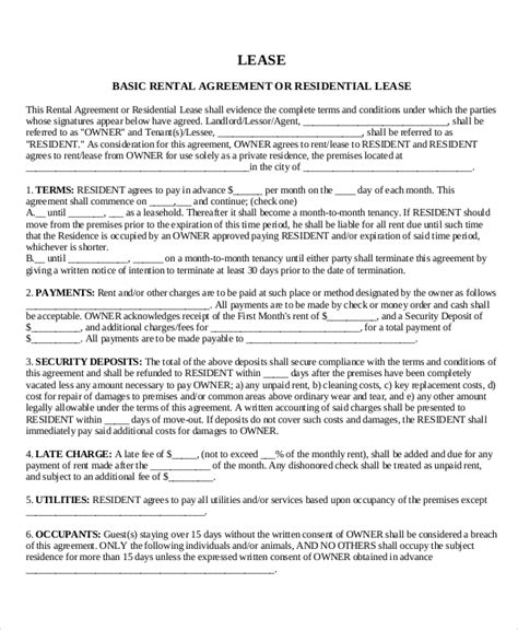 House Rent Contract Template by House Lease Template 6 Free Word Pdf Documents