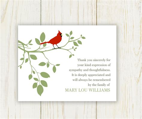 free sympathy thank you card template bird funeral thank you card digital sympathy card