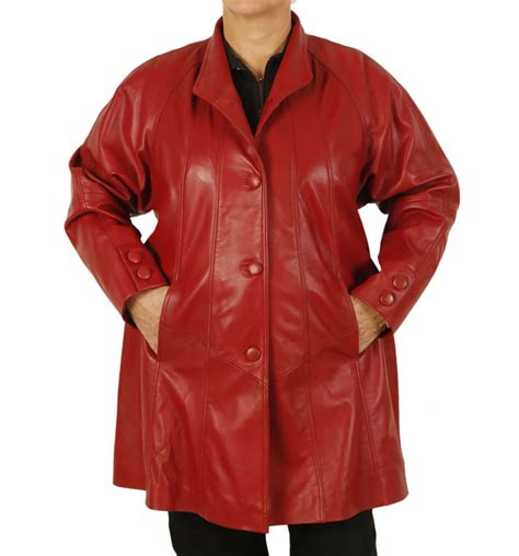 red leather swing coat plus size 22 24 3 4 length red leather swing coat from