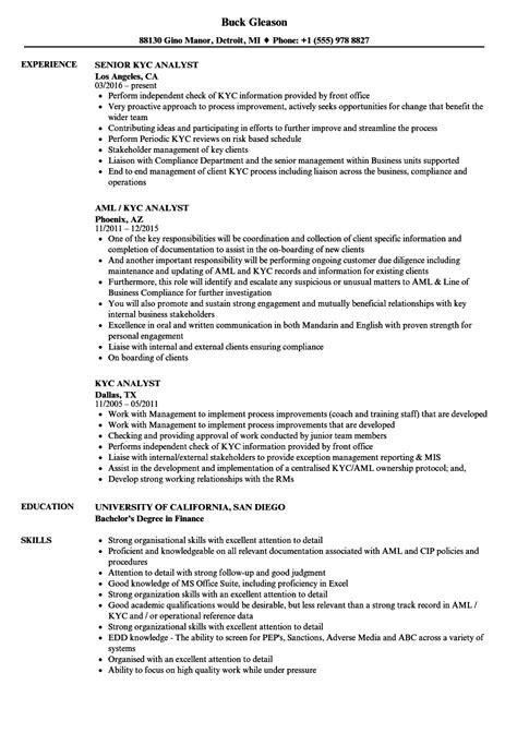 sle cv for kyc analyst kyc analyst resume sles velvet jobs