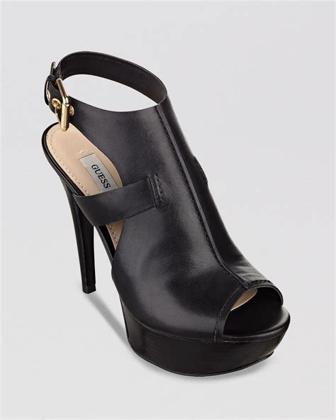 Black Open Toe High Wedges Import 1 guess open toe sandals ofria high heel in black lyst
