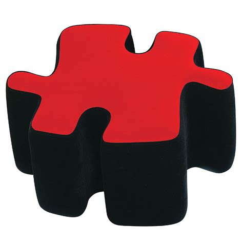 puzzle piece ottoman lumisource two tone puzzotto puzzle ottoman black and red