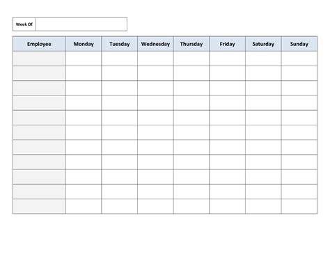 blank spreadsheet   blank spreadsheet     printable work schedules  db