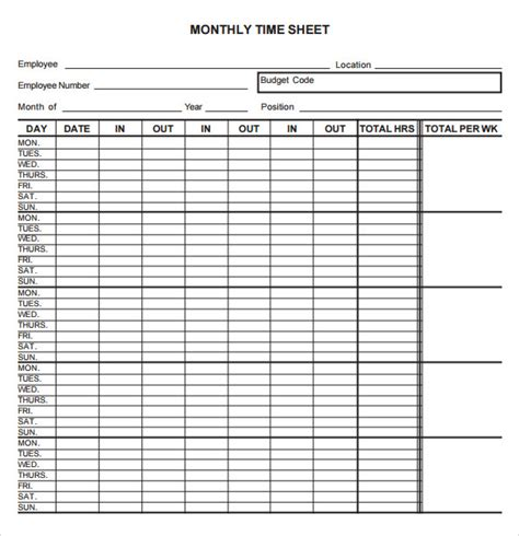Monthly Timesheet Template   9  Free Download For PDF