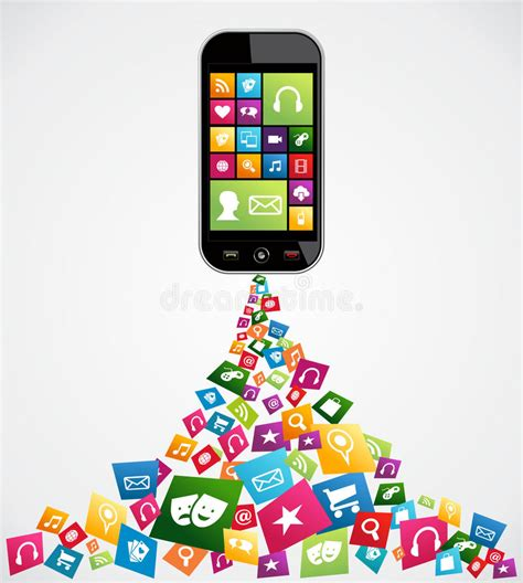 free mobile applications mobile computer applications stock vector illustration