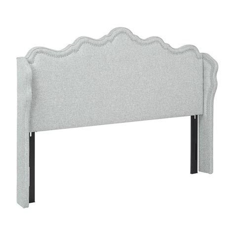 linen headboard king jennifer taylor grey linen upholstered king headboard
