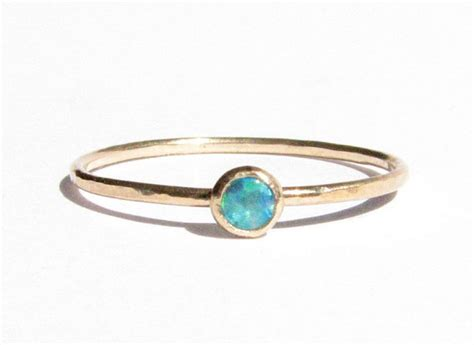 Handmade Engagement Ring - opal 14k solid gold ring stacking ring thin gold