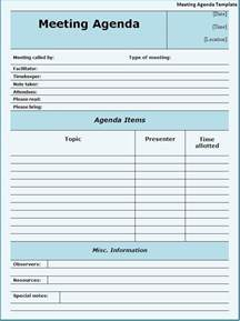 free agenda template print paper templates