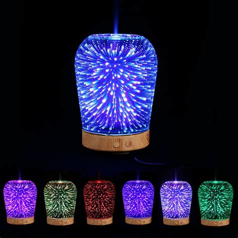 led light with diffuser colorful 3d color changing led light aromatherapy