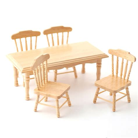 df131p 1 12 scale pine kitchen table and 4 chairs minimum world