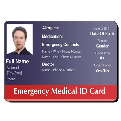 printable medical id cards medical id cards healthcare hospital badge pinterest