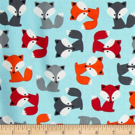 watercolor fox pattern urban zoologie foxes sky discount designer fabric