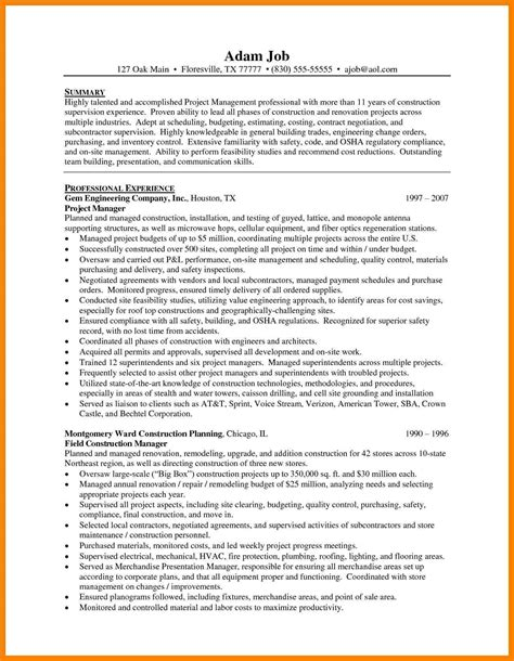 Manager Supervisor Sle Resume by Construction Supervisor Resume Sle 28 Images Wireless Construction Manager Sle Resume