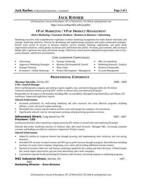 Best Resume Sles For Marketing Best Vp Of Marketing Resume Template