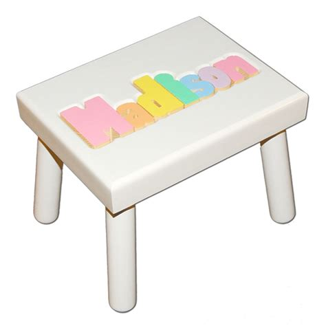 Stool With Name Puzzle by White Small Name Puzzle Stool In Pastel Colors Damhorst