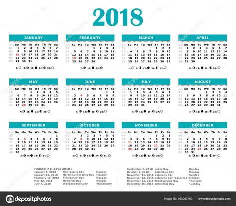Calendario Anual Calendario Anual Verde Azul 2018 D 237 As Feriados Federales