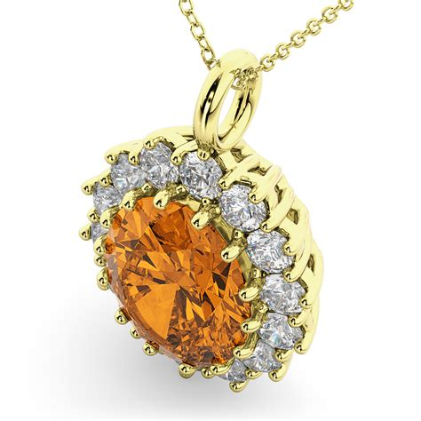 Citrine Oval oval citrine halo pendant necklace 14k yellow