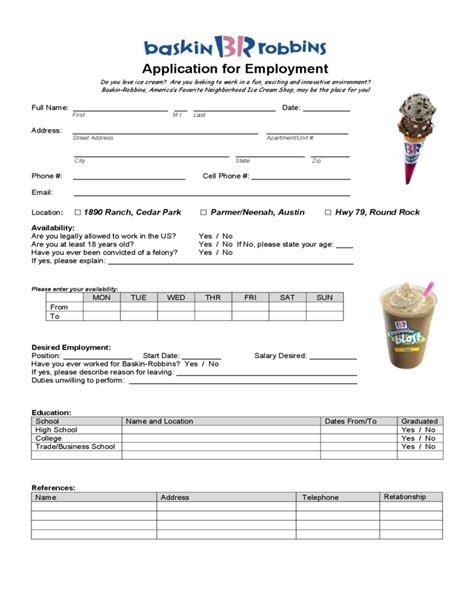 printable job application baskin robbins baskin robbins application for employment form free download