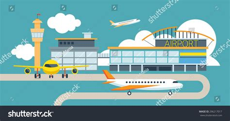 airport design editor object library plane airport flat design illustration icons stock vector