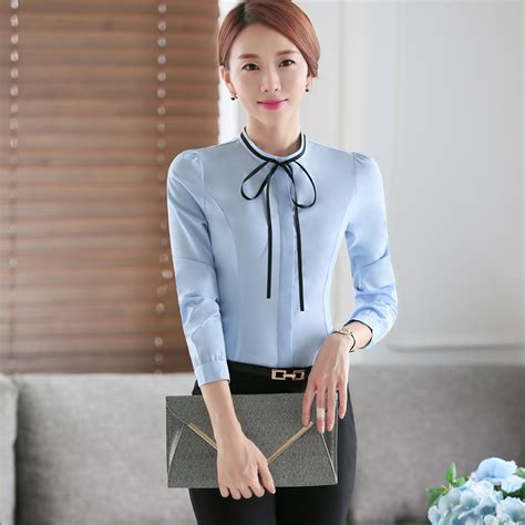Collar Shirt With Bow Tie Blue o neck collar autumn wear sleeve sky blue tie bow blouse shirt casual style
