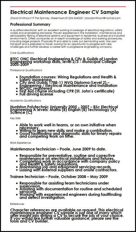maintenance electrician resume format electrical maintenance engineer cv sle myperfectcv