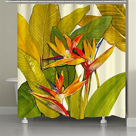 bird of paradise shower curtain laural home 174 tropical bird of paradise shower curtain