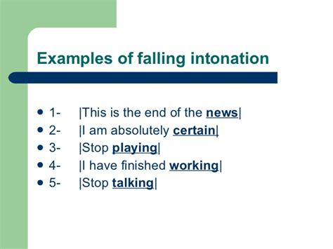 exles of sentences with intonation pattern fnctions of intonation