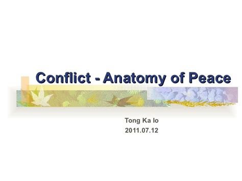 conflict anatomy of peace