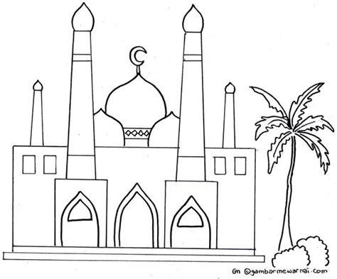 gambar mewarnai masjid kaligrafi