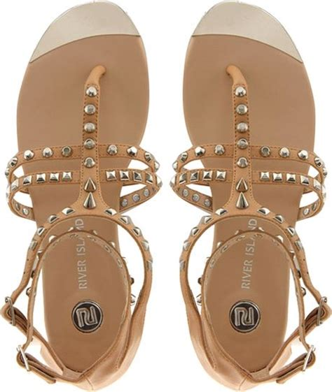 studded gladiator flat sandals river island gladiator studded flat sandals in beige