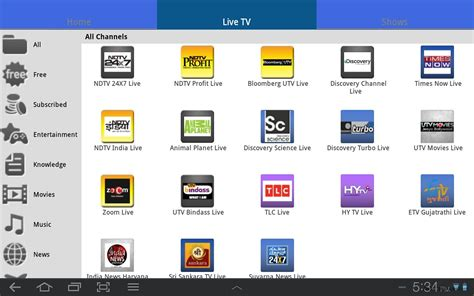 live tv channel app to free live tv channels on galaxy tab