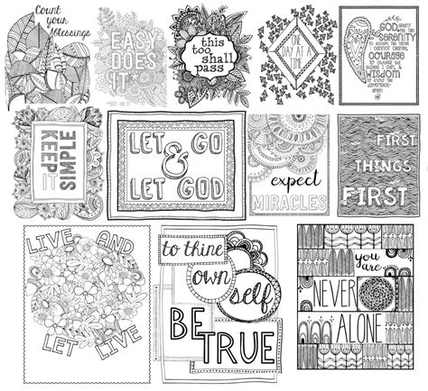 printable recovery quotes 84 coloring therapy for addiction color book art