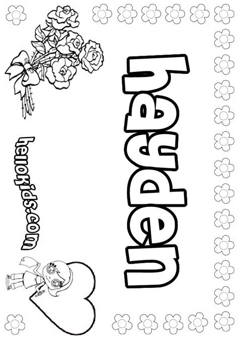 girls name coloring pages hayden girly name to color