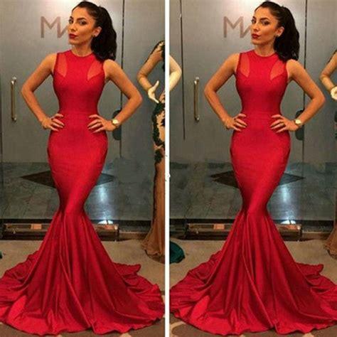 Dress Halter Neck Merah plain sleeveless neck mesh splicing mermaid maxi