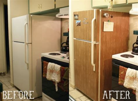 How To Make A Paper Refrigerator - faux wood fridge contact paper kitchen