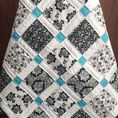 Teal Colored Quilts Modern Baby Quilt Black White And Teal Colors Teal