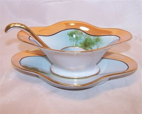 gravy boat with spoon noritake island scene gravy boat saucer spoon japan