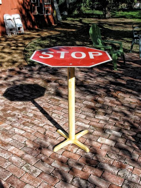 Home Bar Table Stop Sign Bar Top Table By Oneldesigns On Etsy 225 00