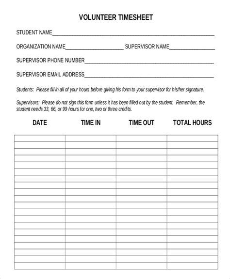 volunteer list template 30 timesheet templates free sle exle format