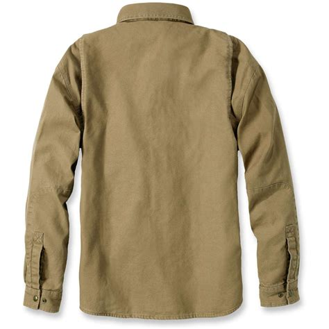 Washed Fleece Lined carhartt mens weathered canvas washed flannel lined shirt