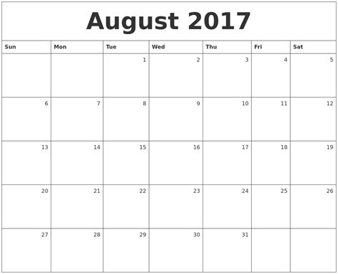 printable calendar aug 2017 august 2017 monthly calendar free printable images and