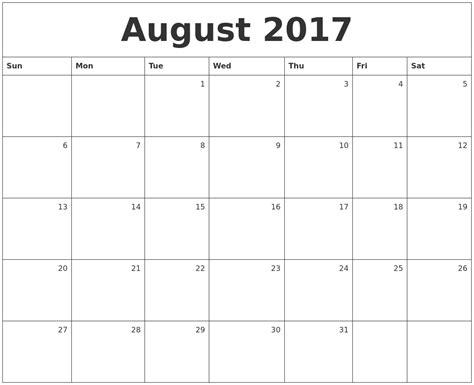 Calendar 2017 July August September August Calendars