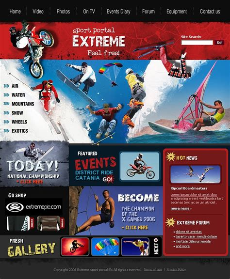 Extreme Sports Website Template 12308 High School Sports Website Templates