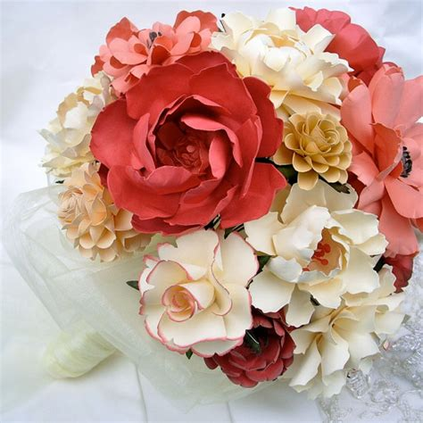 Handmade Paper Flower Bouquet - items similar to handmade paper flower wedding bouquet