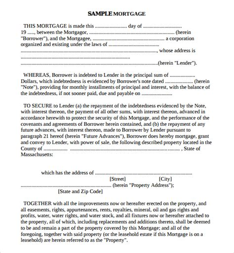 mortgage template sle mortgage agreement template 10 free documents in